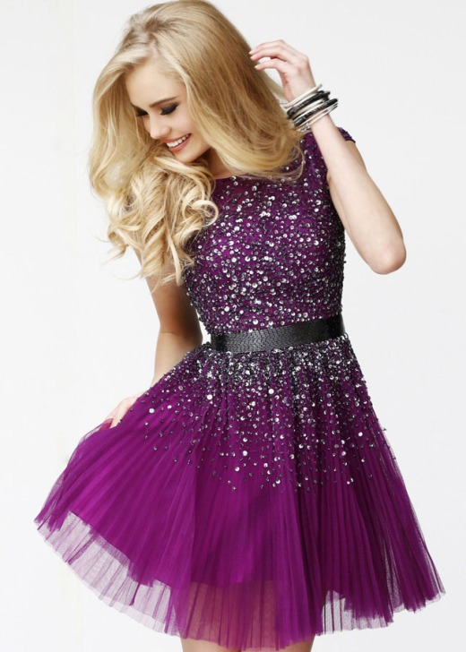 purple beaded short prom dress with open back everyounglady